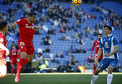 January 20, 2018 - Barcelona, Spain - Gerard Moreno and Mercado during the La Liga match between RCD Espanyol and Sevilla FC played in the RCDEstadium, in Barcelona, on January 20, 2018. Photo: Joan Valls/Urbanandsport/Nurphoto  (Credit Image: © Joan Valls/NurPhoto via ZUMA Press)