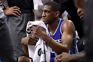 Mar 15, 2017; Phoenix, AZ, USA; Sacramento Kings guard Langston Galloway (9) reacts on the bench in the first half of the NBA game against the Phoenix Suns at Talking Stick Resort Arena. Mandatory Credit: Jennifer Stewart-USA TODAY Sports
