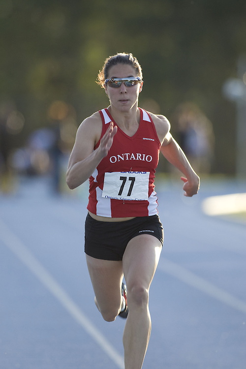(Ottawa, Ontario---14 August 2008)  Celine Loyer of Ontario Red competing in the 100m at the 2008 Ontario Summer Games and Ontario v. Quebec v. Atlantic Canada Espoire Meet. Photo copyright Sean Burges/Mundo Sport Images. More details can be found at www.msievents.com.