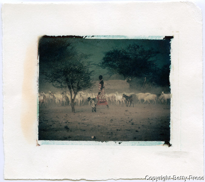 Maasai woman herding goats, Kenya<br /> Image size 4x5, Matted 12x10 Edition of 25 <br /> Archival Pigment Print