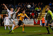 Mark Cullen of Luton Town scores his first goal of the game to make it 1-1 during the Skrill Conference Premier match at the Abbey Stadium, Cambridge<br /> Picture by David Horn/Focus Images Ltd +44 7545 970036<br /> 11/03/2014
