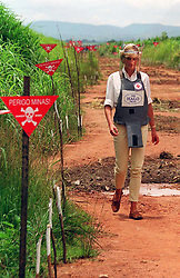 File photo dated 15/01/97 of Diana, Princess of Wales wearing a bombproof visor during her visit to a minefield in Huambo, in Angola. The Duke of Sussex has donned body armour and a protective visor to walk through a partially cleared minefield during a visit to the Halo Trust in Dirico, Angola, in scenes reminiscent of his mother Diana, on day five of the royal tour of Africa.