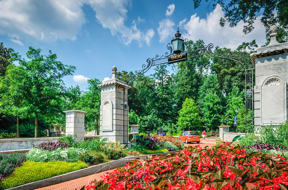 Flowers bloom at the entrance to Emory University, July 7, 2014, in Atlanta, Georgia. Emory was founded in 1836 and is a private research university and liberal arts college. It is consistently ranked as one of the best colleges in the United States. (Photo by Carmen K. Sisson/Cloudybright)