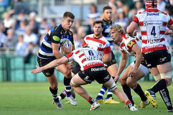 Ollie Devoto of Bath Rugby in possession - Mandatory byline: Patrick Khachfe/JMP - 07966 386802 - 26/09/2015 - RUGBY UNION - The Recreation Ground - Bath, England - Bath Rugby v Gloucester Rugby - West Country Challenge Cup.