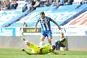Wigan Midfielder Chris McCann challenges Southend United midfielder, Jack Payne (10) during the Sky Bet League 1 match between Wigan Athletic and Southend United at the DW Stadium, Wigan, England on 23 April 2016. Photo by John Marfleet.