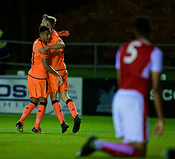 LEYLAND, ENGLAND - Friday, September 1, 2017: Liverpool's George Johnston celebrates scoring the first goal with Yan Dhanda [L] during the Lancashire Senior Cup Final match between Fleetwood Town and Liverpool Under-23's at the County Ground. (Pic by Propaganda)