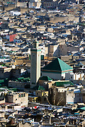 FEZ, MOROCCO 3rd FEBRUARY 2018 - Urbanscape / cityscape skyline of view over Zawiya Moulay Idriss II and surrounding rooftops of the old Fez Medina, Middle Atlas Mountains, Morocco.