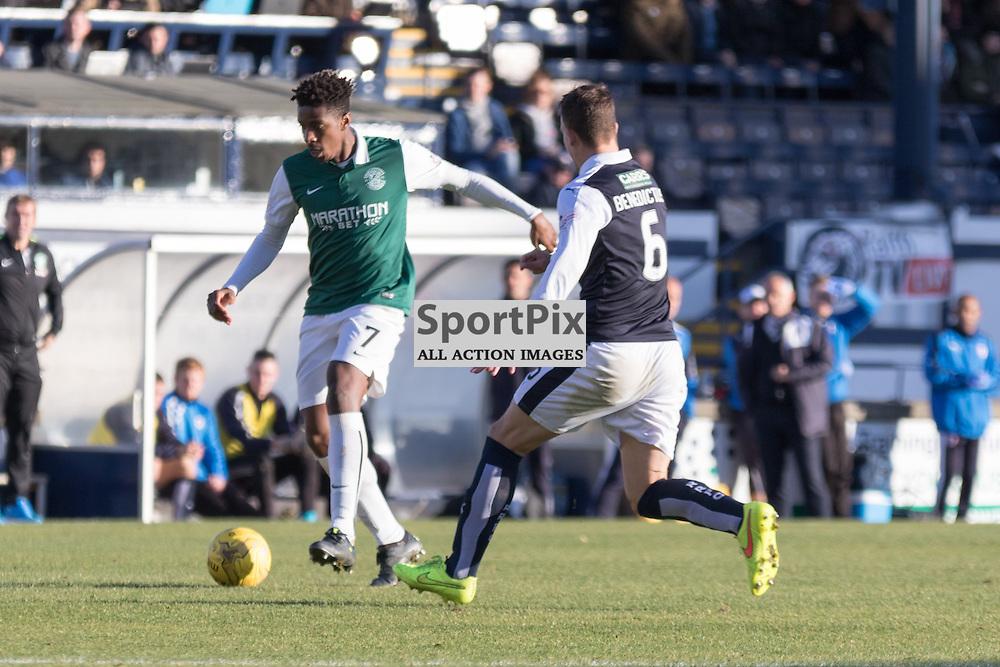 Hibernian's Dom Malonga is tracked by Raith Rovers's Kyle Benedictus in the Raith Rovers vs Hibernian Scottish Championship 24th October 2015......(c) MARK INGRAM   SportPix.org.uk