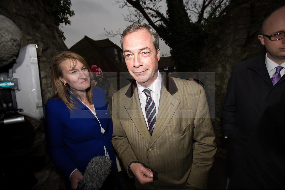 © Licensed to London News Pictures . 21/11/2014 . Kent , UK . UKIP leader NIGEL FARAGE leaves Rochester this morning (Friday 21st November 2014) following Mark Reckless' win for the party in the Rochester and Strood by-election . Photo credit : Joel Goodman/LNP