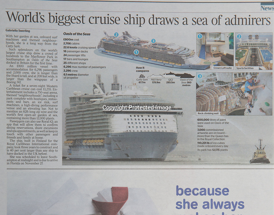 Royal Caribbean International's Oasis of the Seas Southampton visit cuttings.<br /> The Times 161014