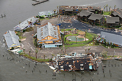 August 27, 2017 - Rockport, Texas, U.S. -  Damage caused by Hurricane Harvey to Key Allegro in Rockport, Texas is seen in a Sunday, aerial photo. The eye of the Category 4 storm passed directly over Rockport as it made landfall late Friday night. (Credit Image: © San Antonio Express-News via ZUMA Wire)