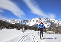 22.03.2018, Ramsau am Dachstein, AUT, Red Bull Der lange Weg, Überquerung Alpenhauptkamm, längste Skitour der Welt, im Bild der temporäre Begleiter Toni Pilz (AUT) // during the Red Bull Der lange Weg, crossing of the main ridge of the Alps, longest ski tour of the world, in Ramsau am Dachstein, Austria on 2018/03/22. EXPA Pictures © 2018, PhotoCredit: EXPA/ Martin Huber
