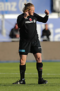 Saracens hooker Tom Woolstencroft (16) warming up and cheering before the Premiership Rugby Cup match between Saracens and Worcester Warriors at Allianz Park, Hendon, United Kingdom on 11 November 2018.