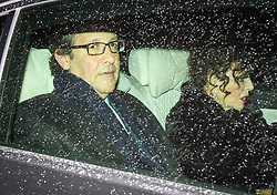 © Licensed to London News Pictures. 06/02/2019. London, UK. English actress JOAN COLLINS and her husband PERCY GIBSON arrive at Battersea Park in London for the annual Black and White Ball, a fundraiser held by the Conservative Party. Photo credit: Ben Cawthra/LNP