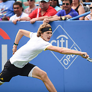 ALEXANDER ZVEREV hits a backhand during the men's singles final at the Citi Open at the Rock Creek Park Tennis Center in Washington, D.C. Zverev beat Kevin Anderson 6-4, 6-4.