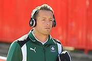 Luke McCormick (23) of Plymouth Argyle arriving at St James Park listening to music with Beats headphones before the EFL Sky Bet League 2 match between Exeter City and Plymouth Argyle at St James' Park, Exeter, England on 17 September 2016. Photo by Graham Hunt.