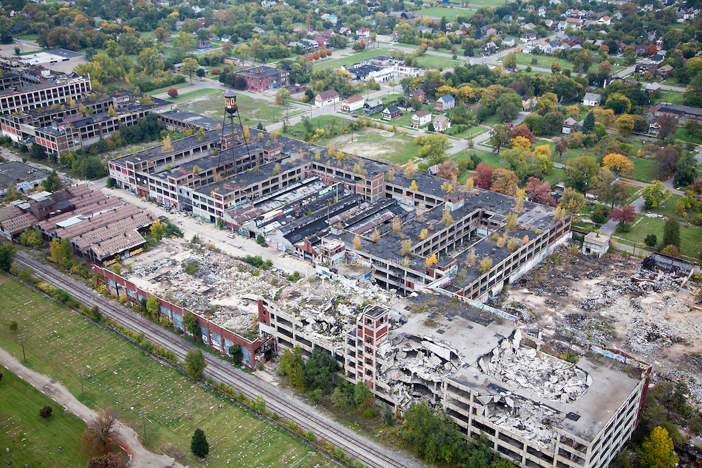 The Packard Automotive Plant, built in the early 1900s, is now in ruins. At over three million square feet, it was regarded as one of the most sophisticated production facilities of its kind when it opened in 1903.