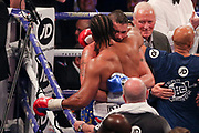 David Haye congratulates Tony Bellew with Barry Hearn  looking on at the O2 Arena, London, United Kingdom on 5 May 2018. Picture by Phil Duncan.