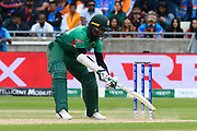 Shakib Al Hasan (vc) of Bangladesh digs out a yorker bowled by Jasprit Bumrah of India during the ICC Cricket World Cup 2019 match between Bangladesh and India at Edgbaston, Birmingham, United Kingdom on 2 July 2019.