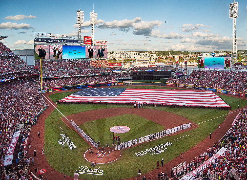 Fighter Jets flying above players being honored at the 2015 All Star Game in Cincinnati, Ohio
