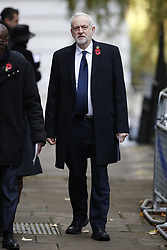 © Licensed to London News Pictures. 12/11/2017. London, UK.  Labour Party Leader Jeremy Corbyn walks through Downing Street to attend the Remembrance Sunday Ceremony at the Cenotaph in Whitehall. Photo credit: Peter Macdiarmid/LNP
