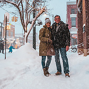 A Friendly Couple Enjoying A Snowy Afternoon In Traverse City