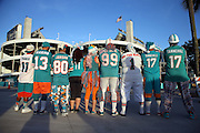 A group of Miami Dolphins fans wearing team gear and colors poses for a pregame photo showing their backs with Sun Life Stadium standing tall in the background during the NFL week 14 regular season football game against the New York Giants on Monday, Dec. 14, 2015 in Miami Gardens, Fla. The Giants won the game 31-24. (©Paul Anthony Spinelli)