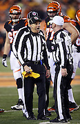 NFL line judge Ron Marinucci (107) holds his penalty flag as he informs referee John Parry (132) of a penalty call during the Cincinnati Bengals NFL AFC Wild Card playoff football game against the Pittsburgh Steelers on Saturday, Jan. 9, 2016 in Cincinnati. The Steelers won the game 18-16. (©Paul Anthony Spinelli)