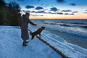Judy Roemer of Green Bay looks out in to the bay of Green Bay from Sunset Park in Fish Creek, Wisconsin in the Door County peninsula. Mike Roemer Photo