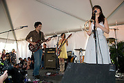 The band, She and Him, consisting of Zooey Deschanel and M. Ward, perform at the Press Here event, The Garden Party, at the Texas French Legation, in Austin Texas, March 15 2008.  The French Legation is the historic site of the French embassy to the Republic of Texas.
