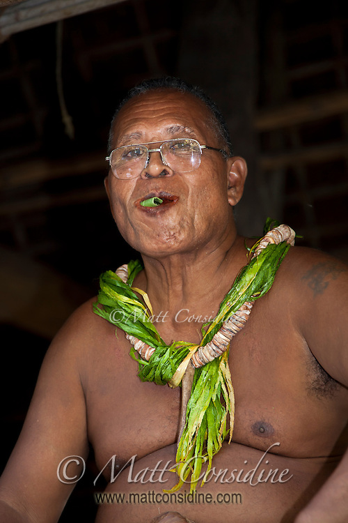 Chief Chewing Betel, Yap Micronesia<br /> (Photo by Matt Considine - Images of Asia Collection)