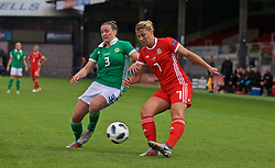 NEWPORT, WALES - Tuesday, September 3, 2019: Wales' Emma Jones and Northern Ireland's Demi Vance (L) during the UEFA Women Euro 2021 Qualifying Group C match between Wales and Northern Ireland at Rodney Parade. (Pic by David Rawcliffe/Propaganda)