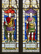 Stained glass window depicting Saint Gereon of Cologne and Saint Maurice, Parish Church of St Aldhelm, Bishopstrow, Wiltshire, England