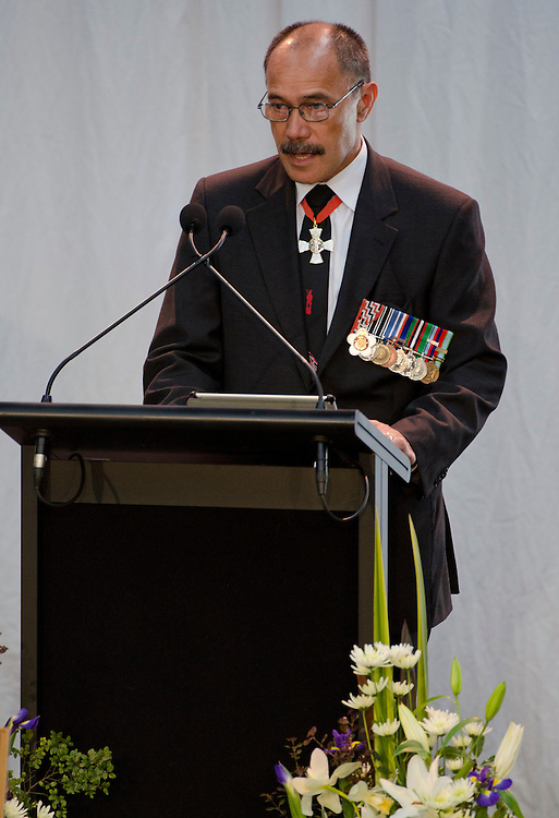 His Excellency Lieutenant General The Right Honourable Sir Jerry Mateparae,GNZM, QSO Governor General of New Zealand. speaks at the Military Memorial Service for CPL Tamatea, LCPL Baker  and PTE Harris at Burnham Military Camp, New Zealand, Saturday, August 25, 2012. Credit :  SNPA / David Alexander