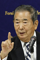 December 18, 2018 - Tokyo, Japan - Ex-Tokyo Governor Shintaro Ishihara speaks during a news conference at The Foreign Correspondents' Club of Japan. Ishihara alongside Masaru Sasaki former Vice President of Tokyo Metropolitan Health and Medical Treatment Corporation and expert in disaster, came to the Club to call for better medical responses for Japanese Self-Defense Forces (SDF) whom risk their lives in defense of the country. In October, a Japanese soldier died and another was injured due to a traffic accident during a joint drill in the Philippines. (Credit Image: © Rodrigo Reyes Marin/ZUMA Wire)