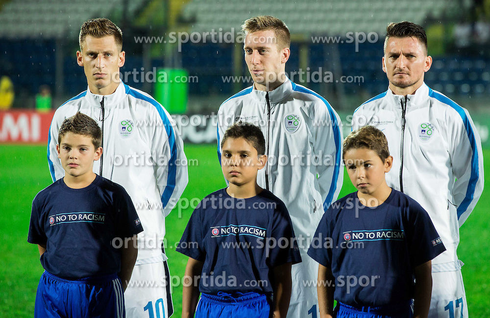 Valter Birsa of Slovenia, Robert Beric of Slovenia and Andraz Kirm of Slovenia during football match between National teams of San Marino and Slovenia in Group E of EURO 2016 Qualifications, on October 12, 2015 in Stadio Olimpico Serravalle, Republic of San Marino. Photo by Vid Ponikvar / Sportida