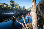 Caitlin Looby paddling on Lake Fulmor near Idyllwild, CA.