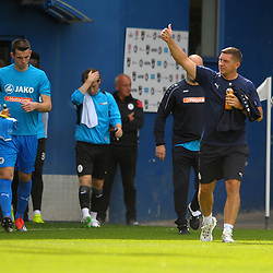 TELFORD COPYRIGHT MIKE SHERIDAN Chester joint boss Anthony Morley gives travelling fans the thumbs up  during the National League North fixture between AFC Telford United and Chester FC at the New Bucks Head on Saturday, September 14, 2019<br /> <br /> Picture credit: Mike Sheridan<br /> <br /> MS201920-018
