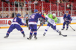 Ziga Pance of Slovenia during Ice Hockey match between National Teams of Great Britain and Slovenia in Round #1 of 2018 IIHF Ice Hockey World Championship Division I Group A, on April 22, 2018 in Budapest, Hungary. Photo by David Balogh / Sportida