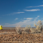 Pac-man mutant vehicle at AfrikaBurn 2014, Tankwa Karoo desert, South Africa