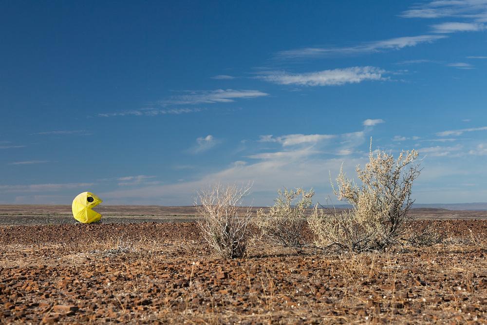 Pac-man mutant vehicle at AfrikaBurn 2014, Tankwa Karoo desert, South Africa