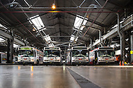 Articulated Motor Coach's pull into the Flynn Division Yard after the morning runs | May 5, 2014