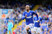 Ipswich Town striker David McGoldrick (10) straining for the ball on this run during the EFL Sky Bet Championship match between Ipswich Town and Brentford at Portman Road, Ipswich, England on 19 August 2017. Photo by Nigel Cole.