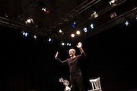 "8 May 2012, Palermo, Italy. Alberto Nicolino, a 41 years old actor, performs ""Orlando furioso raccontato dal mago Atlante"" at the Nuovo Montevergini theatre in Palermo, Italy. Alberto, originally from Cinisello Balsamo (Milan), arrived in Palermo in 2004. ### 8 maggio 2012, Palermo, Italy. Alberto Nicolino, un attore di 41 anni, interpreta ""Orlando furioso raccontato dal mago Atlante"" al teatro del Nuovo Montevergini a Palermo. Alberto, originario di Cinisello Balsamo (MI), si è trasferito a Palermo nel 2004."