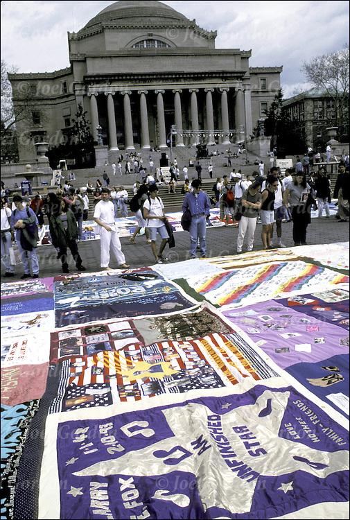 The NAMES Project AIDS Memorial Quilt on display - Columbia University Campus - NYC.
