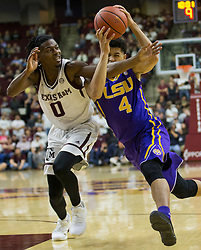 LSU guard Skylar Mays (4) drives the lane against Texas A&M guard Jay Jay Chandler (0) during the second halfof an NCAA college basketball game Saturday, Jan. 6, 2018, in College Station, Texas. (AP Photo/Sam Craft)