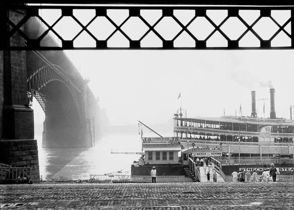 """Ancient Boats, Modern Bridge"", St. Louis, Missouri, 1926"