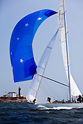 Columbia, 12 Metre Class, sailing in the Museum of Yachting Classic Yacht Regatta, race one.