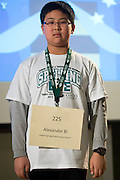 Alexander Bi of Indian Springs Elementary School introduces himself during the Columbus Metro Regional Spelling Bee Regional Saturday, March 16, 2013. The Regional Spelling Bee was sponsored by Ohio University's Scripps College of Communication and held in Margaret M. Walter Hall on OU's main campus.