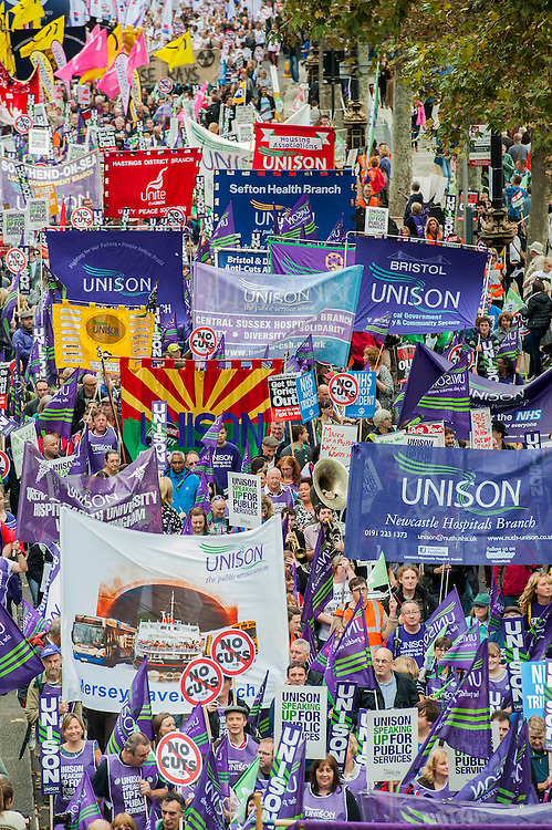 Britain needs a pay rise - A march organised by the TUC to demand fairer and pay rises for the lowest paid and particularly in the public sector. The march started at Embankment, passed through Trafalgar Square and ended with speeches in Hyde Park.